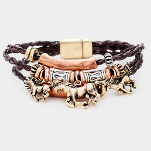 Jewelry - Horse Charm Layered Magnetic Bracelet